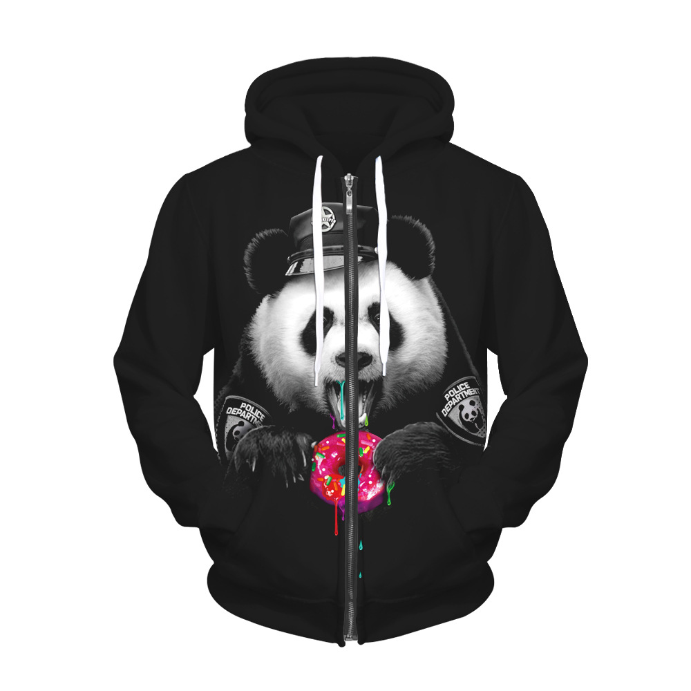 Panda doughnut 3D digital print personality zipper coat and hooded hooded hoodies