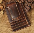 Top Quality Cattle Men male Vintage Genuine leather Credit Card Cash Holder Magnet Money Clip Slim Mini Handy Wallet Purse 1015