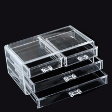 Прозрачный 3 слоя ящики коробка четыре хранения косметика для макияжа ювелирный организатор дом хранение