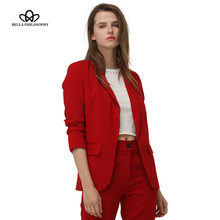 Bella Philosohy 2018 Spring Fashion Red Blazer Women OL Puff Sleeve Workwear Blazer Coat No Button Three Quarter Ladies Outwears