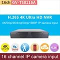 4 K Ultra HD ONVIF NVR 16ch DVR 16 canais de 5mp/2 K/4mp/3mp/1080 P H.265 P2P mini rede de entrada de vídeo sistema de cctv GANVIS GV-TS8116A