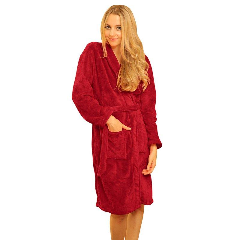 Autumn Winter Women Night Wear Warm Loose Coral Fleece Long Night Robe Sleepwear Shawl Collar Bathrobe Spa Dressing Newest