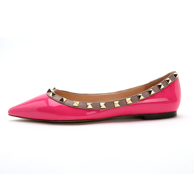 2016 Woman Ballet Flats Shoes Genuine Leather Rivets Pointed Toe Casual Flat Rivet Spiked Female Loafers Sexy Boat Shoes Black