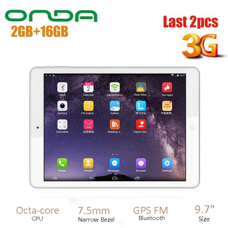 Nouveau Onda V919 3G Air Android 4.4 téléphone tablette PC 9.7 pouces MTK8392 2.0 GHz QXGA IPS écran 2 GB RAM 16 GB ROM WiFi tablettes PC GPS FM
