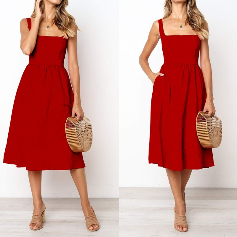Women Ladies Holiday Hot Strappy Sleeveless Summer Beach Swing Midi Dress Sundress in Dresses from Women 39 s Clothing