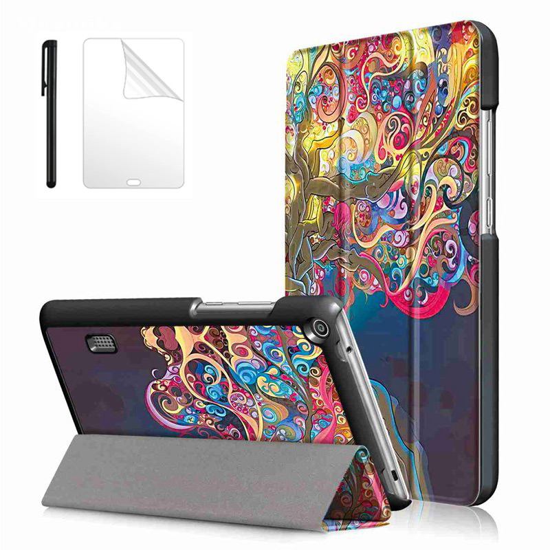 Smart PU Leather Case for Huawei MediaPad T3 7.0 BG2-W09 Tablet Case Funda for Honor Play Pad 2 7.0 tablet cover +Film+Pen