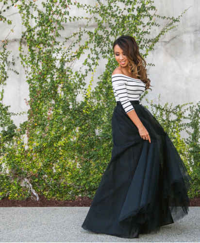 44a3a23f3f39a Fashion Women Skirt Sets Multi Layers Maxi Long Tulle Skirt with Off  shoulder Striped Tee Shirt Lady Dress Pleated Women Set
