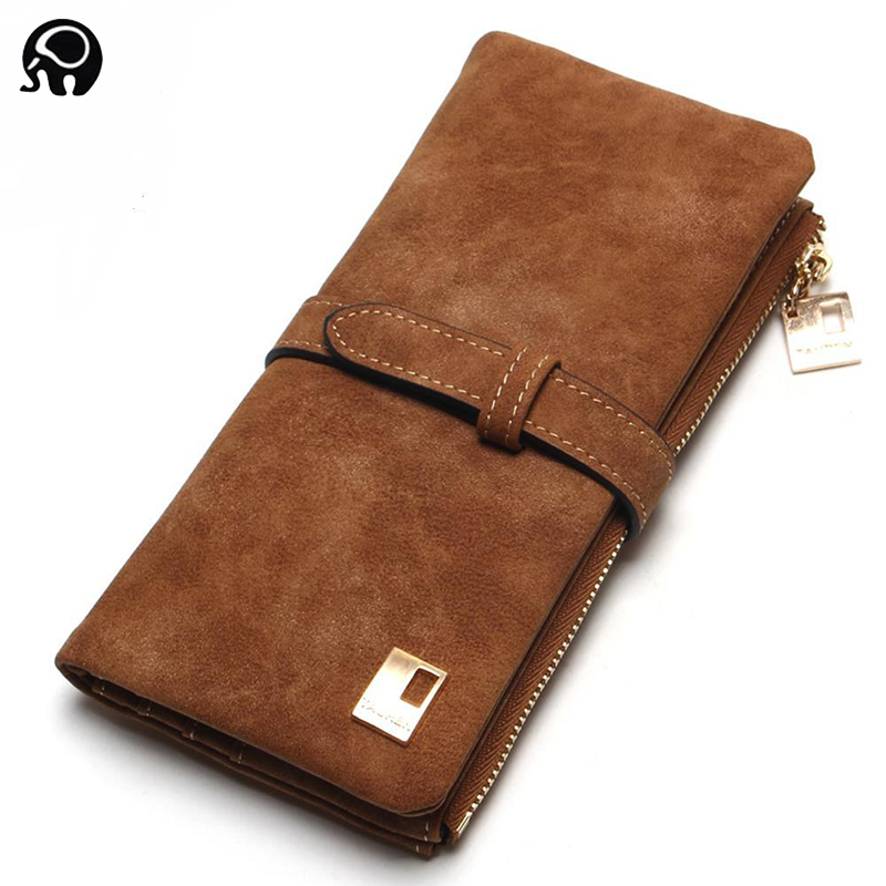 2018 Fashion Women Wallets Drawstring Nubuck Leather Zipper Wallet Women Purse Two Fold Clutch Long Ladies Pu Leather Wallet