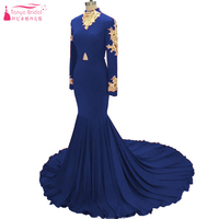 Royal Blue African Prom Dresses Long Sleeve Gold Lace Appliques High Neck Mermaid Evening Dresses Black