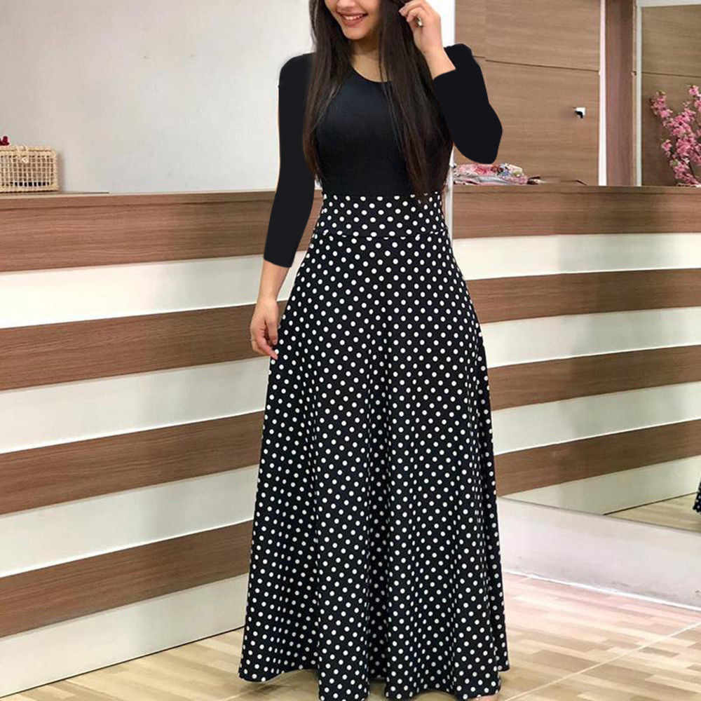 בתוספת גודל 2019 אופנה נשים שמלה ארוך שרוול מודפס טלאים אלגנטי בציר מקסי שמלת גבירותיי קיץ מקרית vestido פרחוני