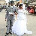 Venda quente Africano Casamento Do Pescoço Da Colher Do Vestido de Casamento com Pérolas Branco Tulle Plus Size Mermaid Vestido de Noiva 2017 com Mangas