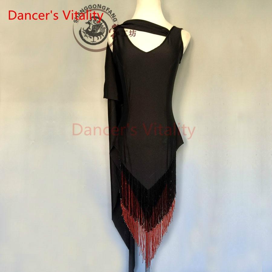 Dancer's Vitality New Brand Tassel Double V Collar Latin Dance Dress Women Salsa Samba Tango Cha-Cha Dancing Dresses For Kids