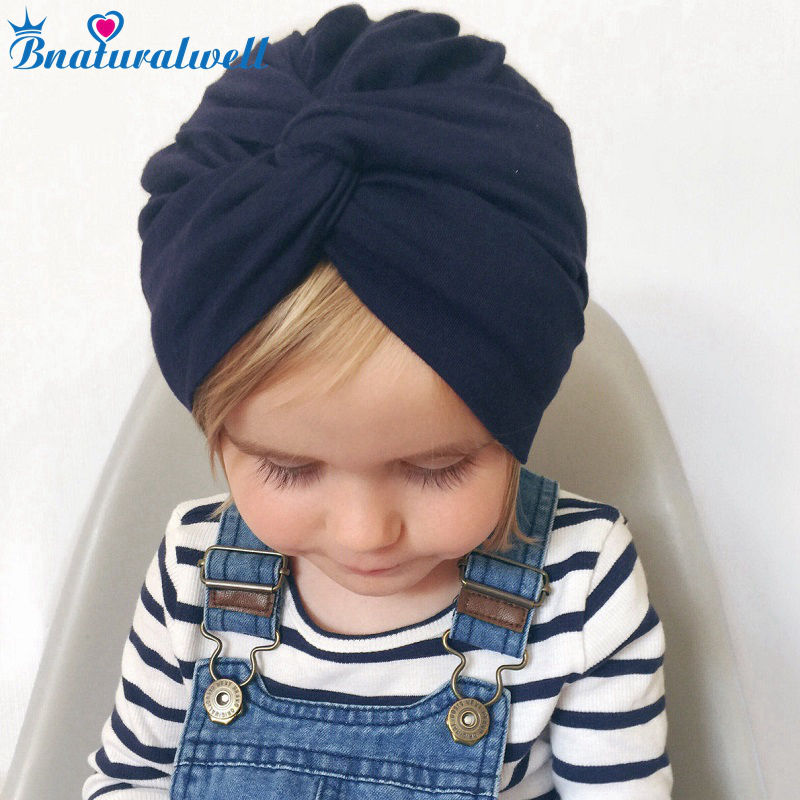 Bnaturalwell Baby Top Knot Turban hat Little girls Headwrap Soft cotton Turban vintage style retro baby   Beanies   H121D