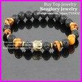 10PCS Men's Buddha bracelet, Nature Lava Stone Beads With Tigers Eye bracelet,Gold Buddha bracelet, Energy Stretch bracelet