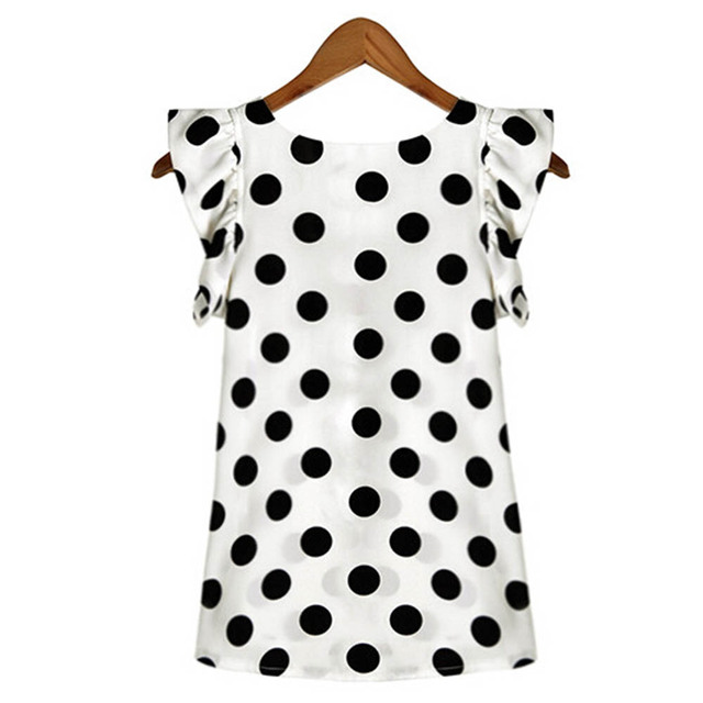 Fashion  Girl Dots Blouse Women Casual Chiffon Shirt Sleeveless Ruffle Sleeve Shirt Summer Tops Black White