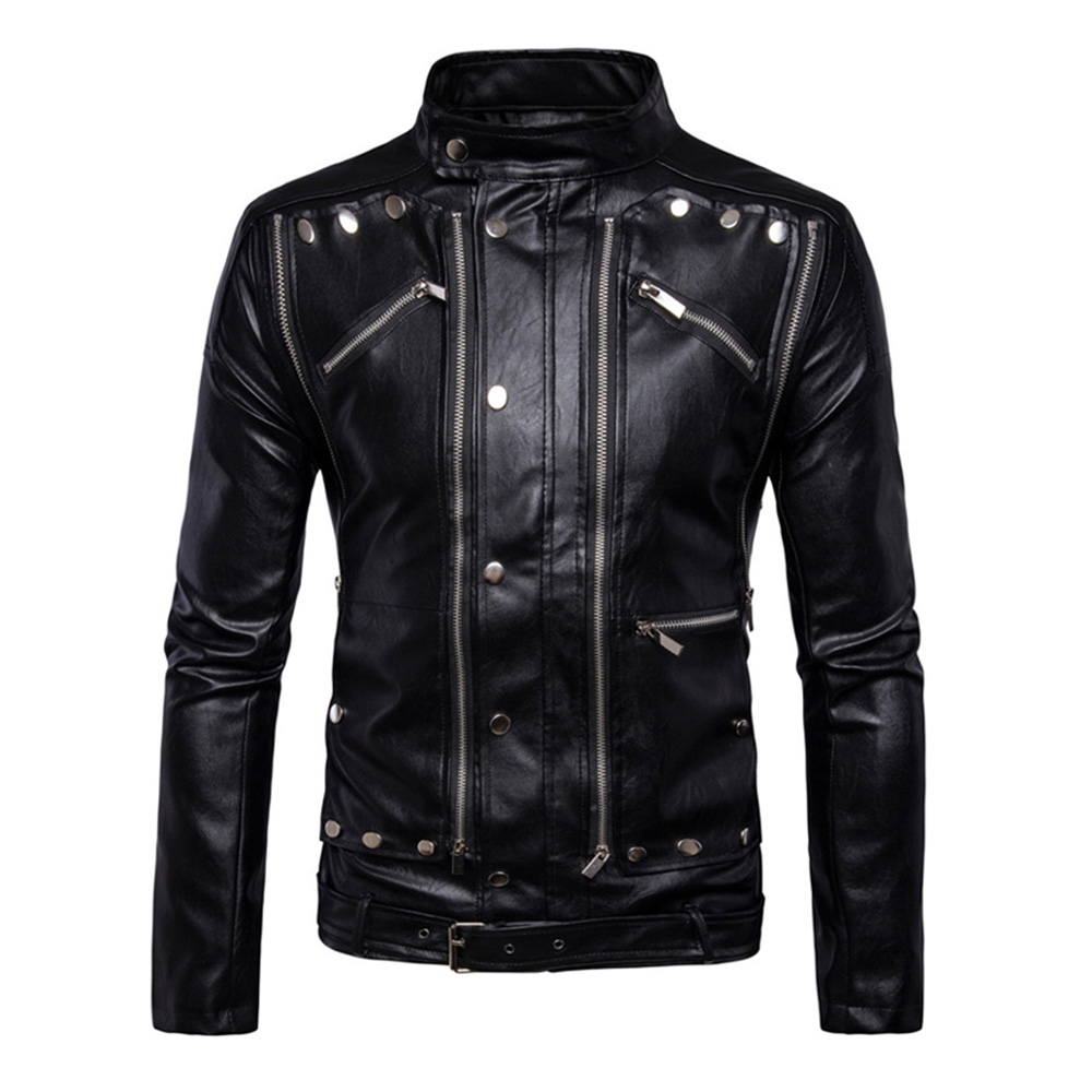 Herobiker Retro Punk Motorcycle Jacket Men PU Leather Casual Motor Jacket Multi Zippers Biker Stand Collar Motorcycle Jacket клетка для грызунов велес lusy hamster 2 2 этажная цвет синий бирюзовый 35 х 26 х 26 см