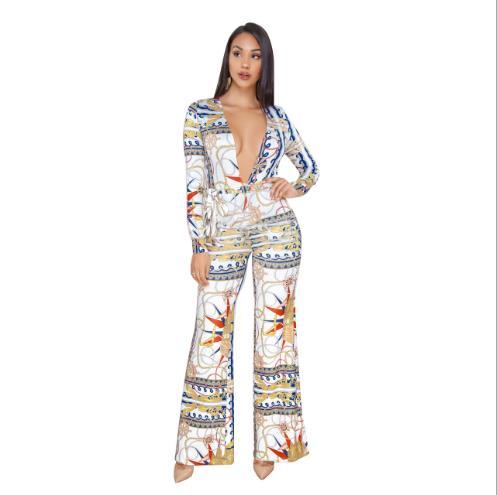 2019 Afrikaanse Kleding Lente/zomer Sexy Mode Print Diepe V Wijde Pijpen Jumpsuit Laatste Stijl