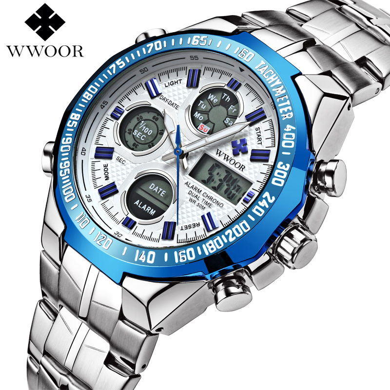 все цены на WWOOR Men Waterproof Sports Watches Men Brand Luxury Quartz Analog LED Digital Clock Male Army Military Watch relogio masculino