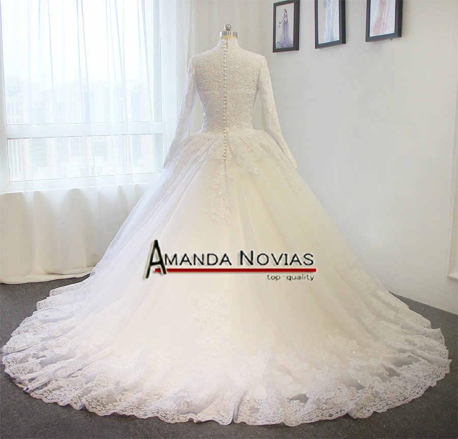 Высокая шея свадебное платье мусульманское Белый Элегантный свадебное платье