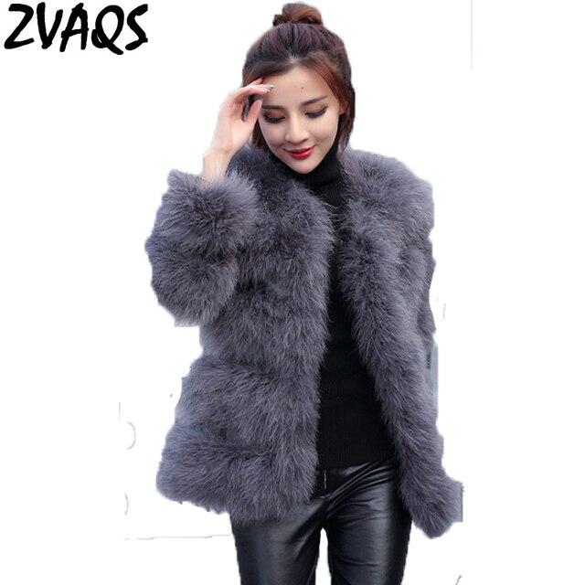 894f6bb3e2 ZVAQS Stylish Real Ostrich Feather Fur Coat Winter Luxury Long Woman Warm  Turkey Wool Fur Jackets Fashion Female Fur Coats ST011