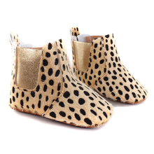 Cute Winter Boots Fashion Soft Bottom Baby Moccasin leopard Baby First Walkers Warm Boots Non-slip Boots for Baby Girls