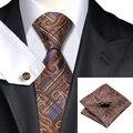 SN-540 Sienna Marrón Azul Paisley Corbata Hanky Gemelos Juegos de Los Hombres 100% Corbata de Seda para hombres Formales Del Banquete de Boda Del Novio