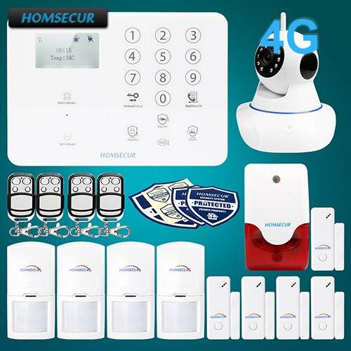HOMSECUR Sans Fil et filaire 4G LCD Accueil système d'alarme de sécurité + IOS/Android APP GA01-4G-W