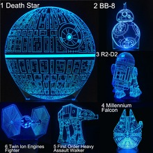 Cartoon 3D Led Lamp Table Night Light Death Star BB8 R2D2 Creative Gift Bedroom Decor Millennium Falcon Moive Figure foreign star wars millennium falcon 3d lamp acrylic stereoscopic led colorful gradient atmosphere lamp