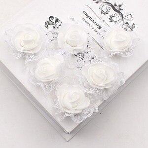 Image 3 - 20ピース造花pe発泡レースローズため結婚式の装飾diyスクラップブッキング手作りクラフトアクセサリー花輪花