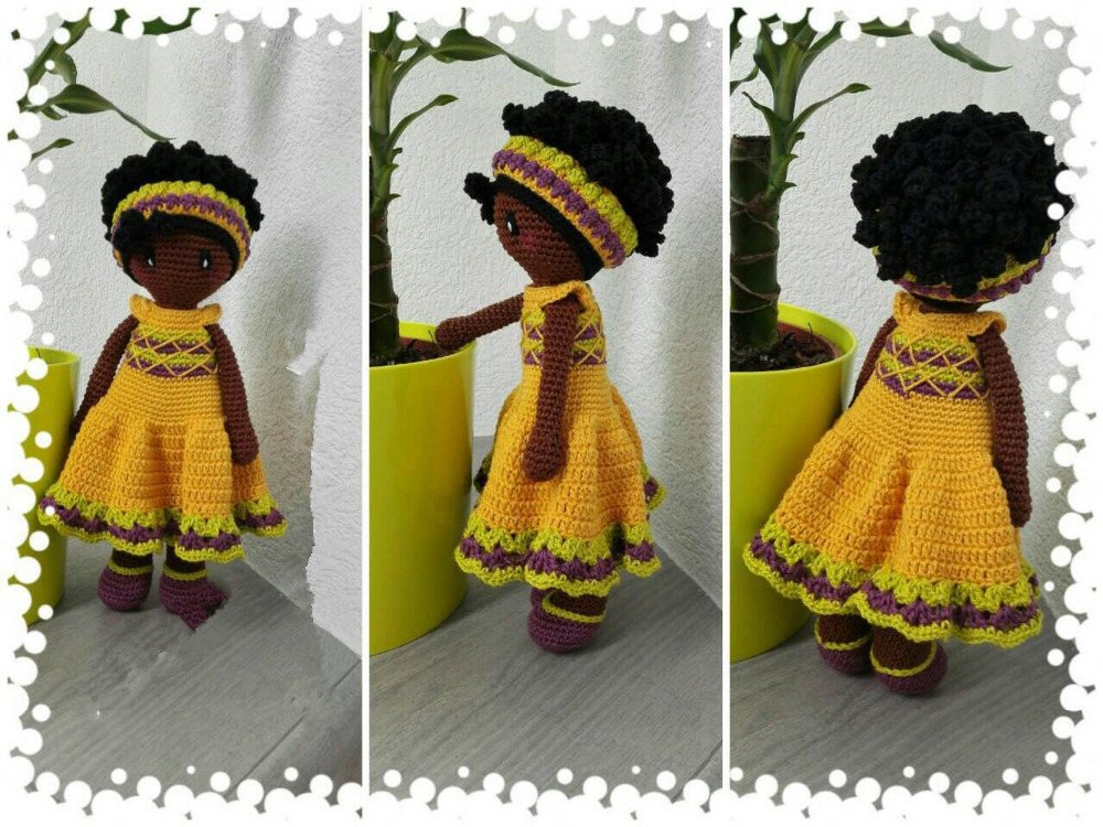 Crochet Toys  Amigurumi  Doll Brown  Skin Color Girl Number  LS0048