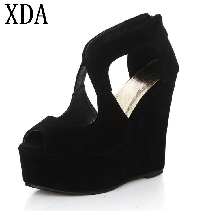 XDA New 2018 Vintage Women Sandal High Heels Gladiator Sandals Women Summer Wedge Shoes Woman Platform zipper Sandals F68