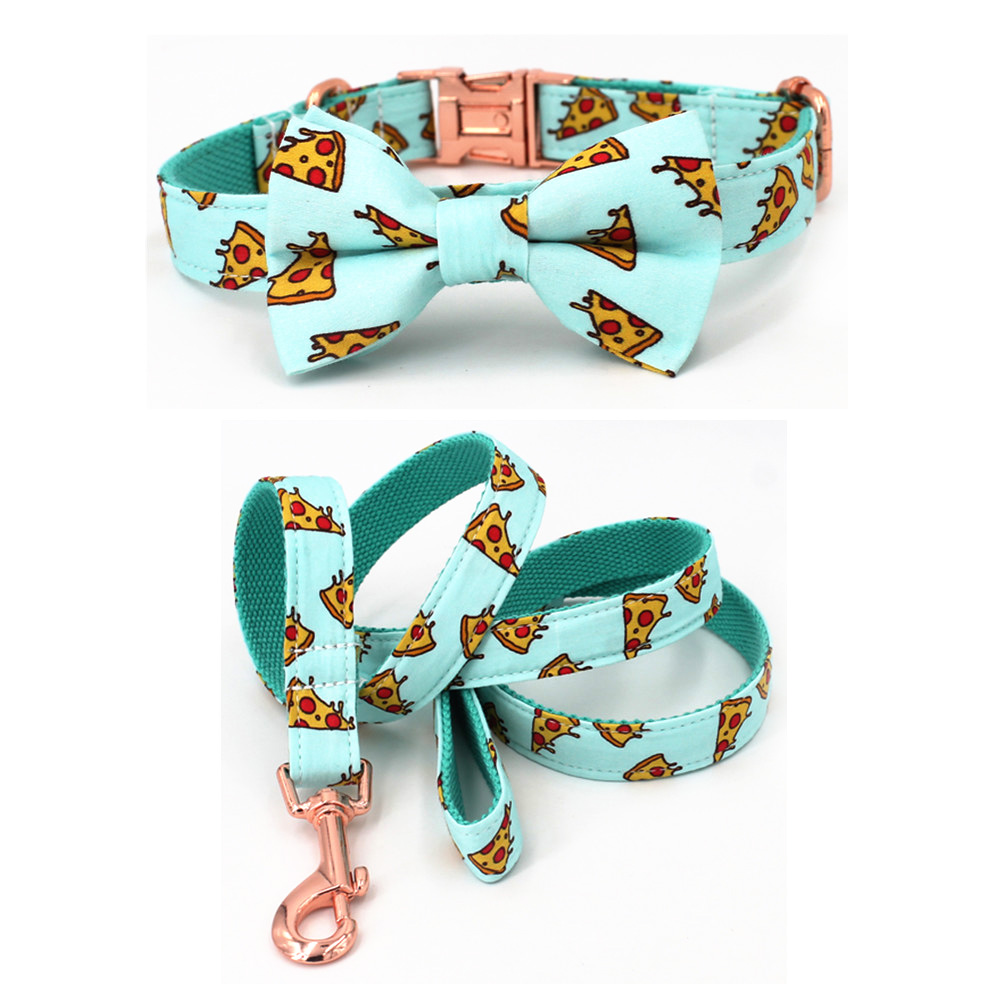Popular Pizza Pattern dog collar and leash with bow tie for big and small dog cotton fabric collar rose gold metal buckle