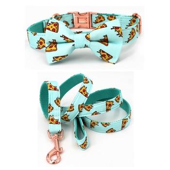 Popular patrón de Pizza collar de perro y correa con pajarita para perro grande y pequeño collar de tela de algodón rosa oro hebilla de metal