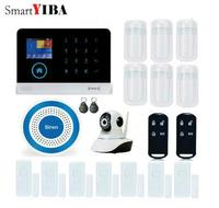 SmartYIBA WIFI GSM SIM Home Security Burglar Alarm System RFID LCD Touch Wireless SMS Call App Alert Android IOS House Smart
