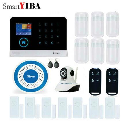 SmartYIBA WIFI GSM SIM Home Security Burglar Alarm System RFID LCD Touch Wireless SMS Call App Alert Android IOS House Smart image