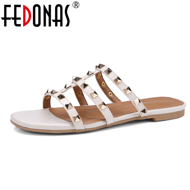 FEDONAS 2018 Genuine Leather Flats Heels Fashion Women Sandals Sexy Punk Rivets Slippers Female Summer Casual Shoes Woman Flats free shipping fashion 2018 new summer women shoes casual sandals genuine leather flats sandals beach slippers soft comfortable