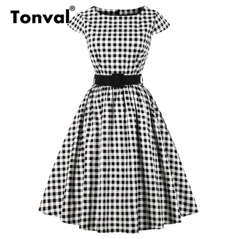 Tonval Retro Rockabilly Plaid Tunic Dress Women Cap Sleeve 50S Vintage Gingham Dress Summer Belted Cotton Elegant Dresses