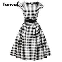 Tonval vestido túnica xadrez retrô rockabilly, vestido túnica feminino vintage 50s ingham cinto em algodão