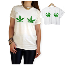 Weed Leaf T Shirt Women Weed Leaf CROP TOP Printed Short Sleeve Casual  Ladies Tee US