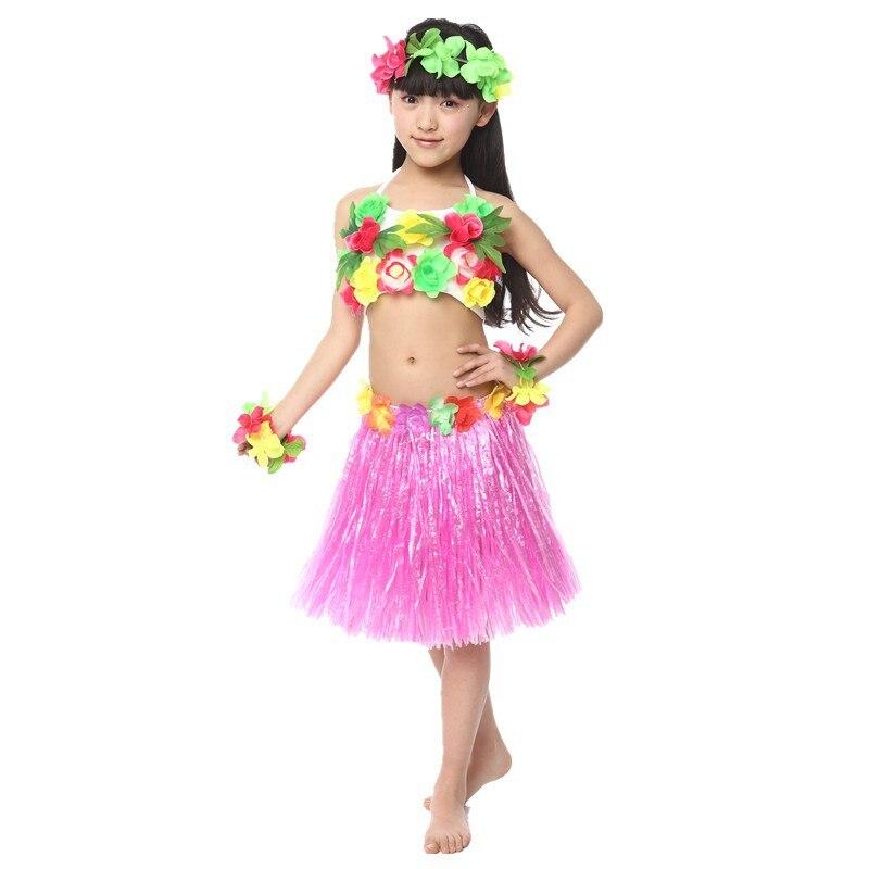 20Sets/lot 2017 New Girls Hula Dance Clothes Grass Garlands Folk Dance Split Suit Children ...