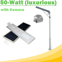 50W All In One Solar Street Light IP65 with Camera Efficiency Mono 70W 18V Solar Panel for Lamp Light Control and Motion Sensor