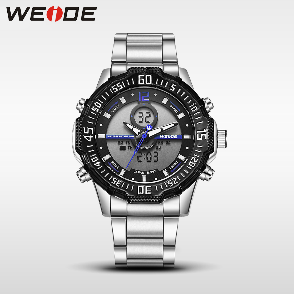 Weide casual genuine luxury brand quartz sport relogio digital masculino watch stainless steel analog men automatic alarm clock weide casual genuin new watch men quartz digital date alarm waterproof fashion clock relogio masculino relojes double display