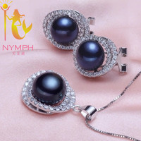 NYMPH Pearl Jewelry Sets For Women 925 Sterling Silver Jewelry Big Fresh Water Pearl Necklace Pendant Earrings For Women tc1024