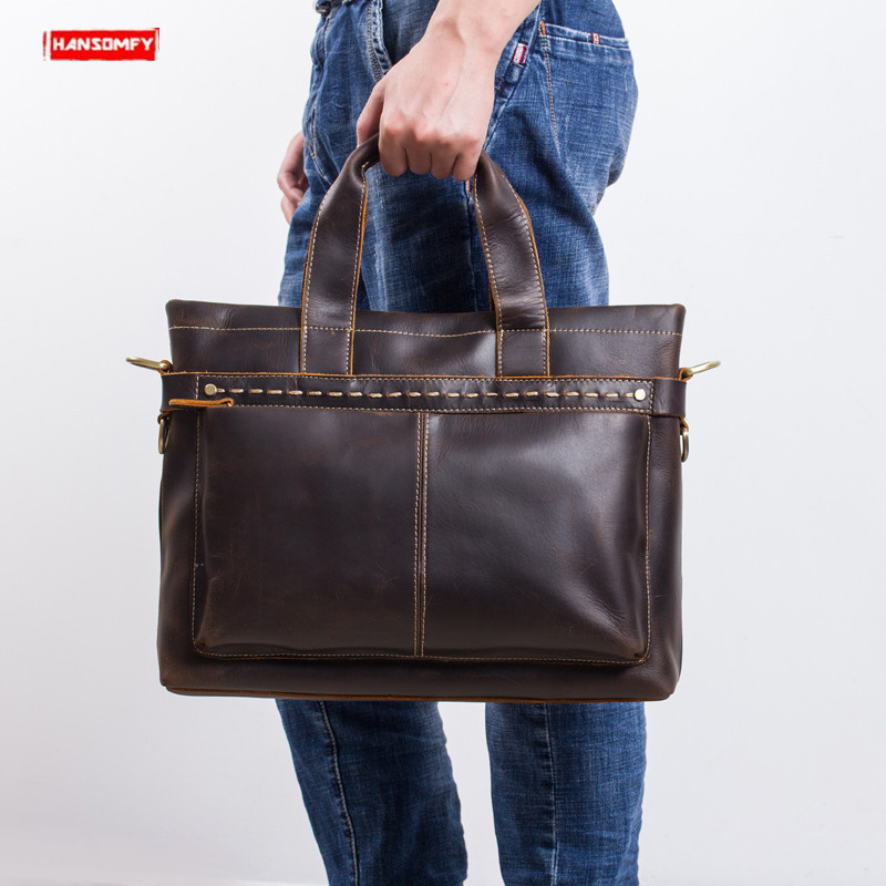 2019 Retro crazy horse leather Mens briefcase first Layer Leather laptop handbag business male travel shoulder messenger bags2019 Retro crazy horse leather Mens briefcase first Layer Leather laptop handbag business male travel shoulder messenger bags