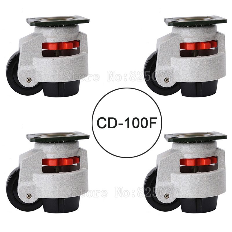 4PCS CD-100F Load Bearing 750kg/pcs Level Adjustment MC Nylon Wheel and Aluminum Pad Leveling Caster Industrial Casters JF1554 5 swivel wheels caster m12 industrial castor universal wheel nylon rolling brake medical heavy casters double bearing wheel