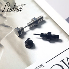 Louleur Punk Fashion Gold Black Color Stainless Nail Screw Piercing Stud Earring for Women & Men Ear Piercings Fashion Jewelry louleur 2pair lot gold black color punk small hoop earrings for women men stainless steel clip on earring piercing ear jewelry