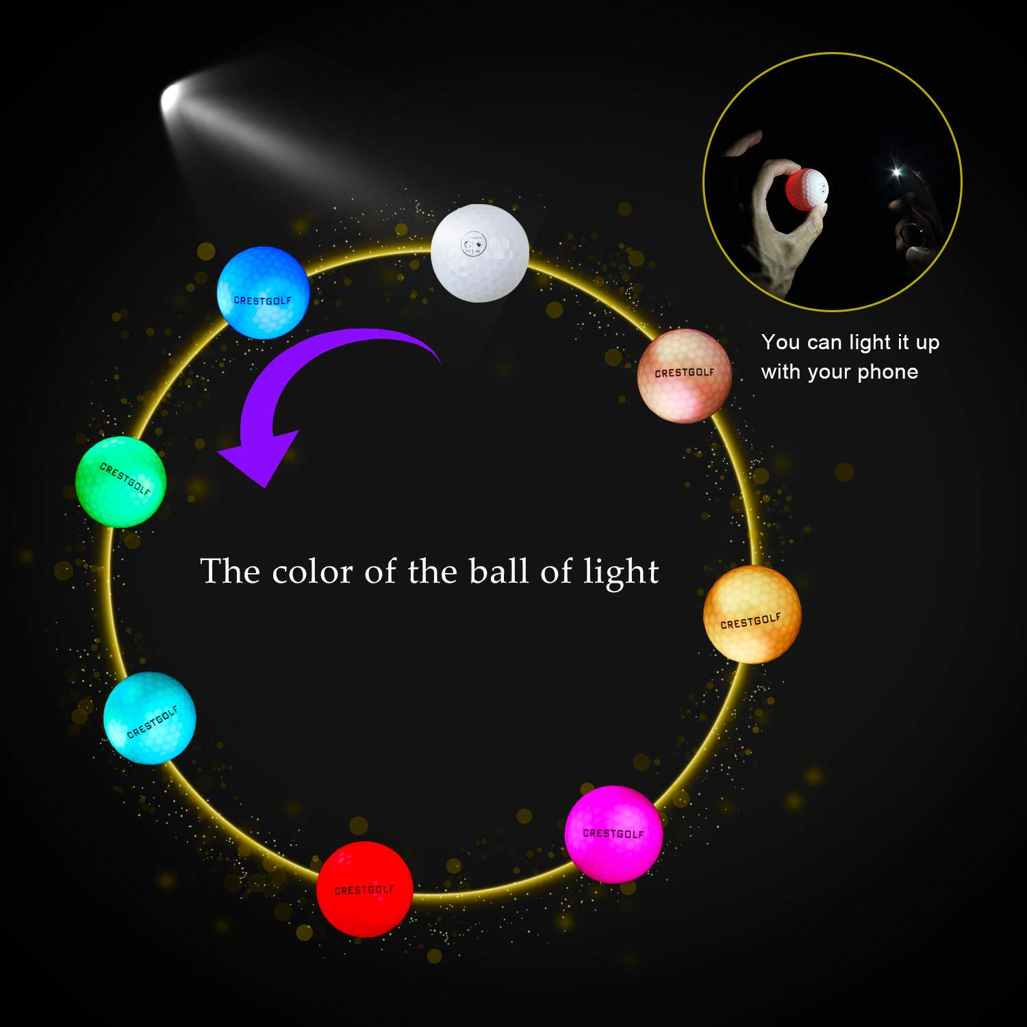 Crestgolf 6pcs / Pack Flashing Golf Ball Night Glow Flash Light Glow LED Golf Ball-Six Color for Your Choice 1