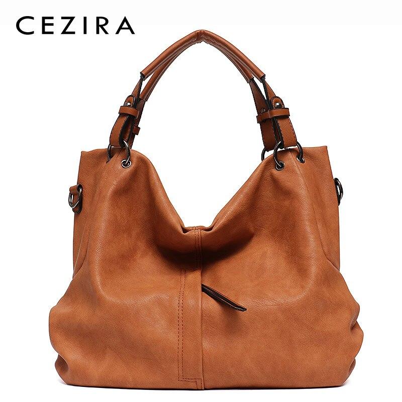 df068649cfd33 Tanie CEZIRA marki duże kobiety skórzane torebki damskie wysokiej jakości  kobieta Pu Hobos torby na ramię stałe kieszeń panie stałe torby damskie na  zakupy ...