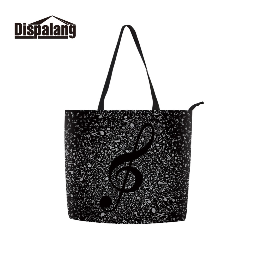 Pretty Messenger Bag Patterns Musical Notes Printing Shoulder Bag for Girls Big Capacity Zipper Tote Bag Casual Shopping Bag 1