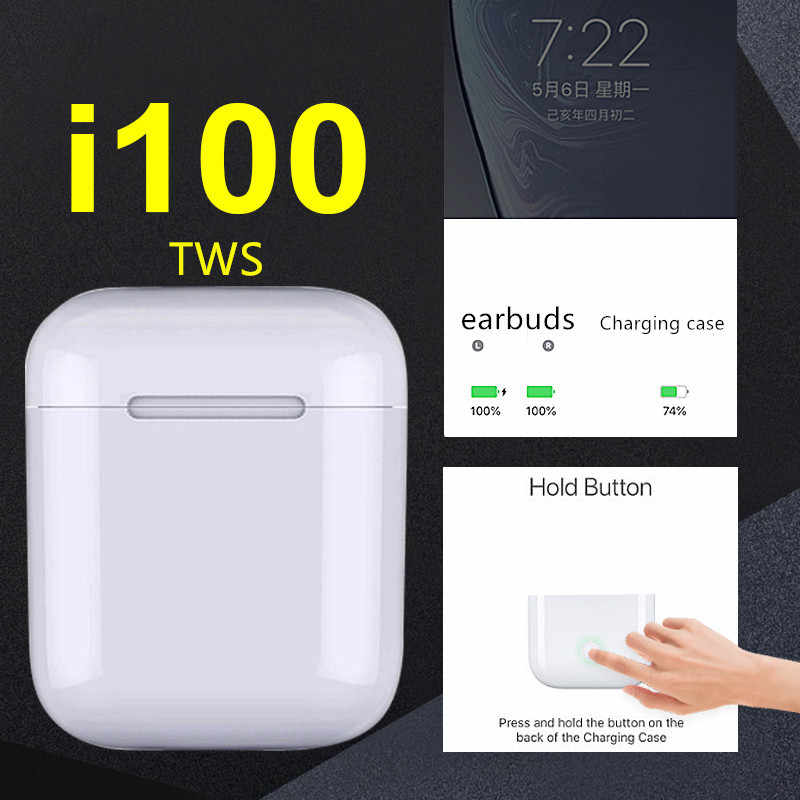 I100 TWS 1: 1 sensor mini Pop-up w1 h1 chip Bluetooth inalámbrico auriculares Bluetooth pk i10 i60 i30 i20 i80 I90 i77 tws 5,0